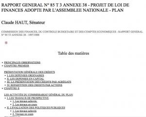 Claude Haut, Rapport au Sénat