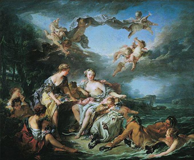 François Boucher, L'Enlèvement d'Europe, 1747. Huile sur toile, 160,5 cm x 193,5 cm, Louvre.edu